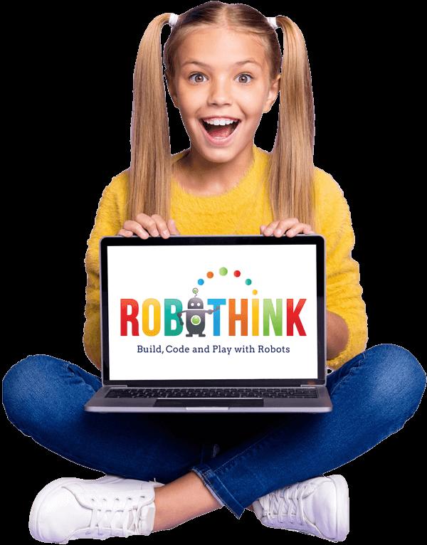 Girl showing laptop with RoboThink logo | Online STEM, Coding, Robotics, Engineering Programs